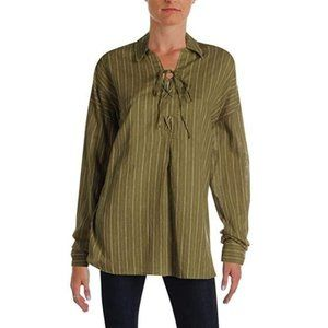 Free People Under The Boardwalk Lace Up Blouse XS